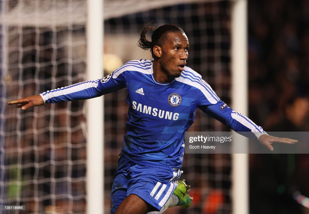 Didier Drogba of Chelsea celebrates as he scores their third goal during the UEFA Champions League Group E match between Chelsea FC and Valencia CF at Stamford Bridge on December 6, 2011 in London, England.