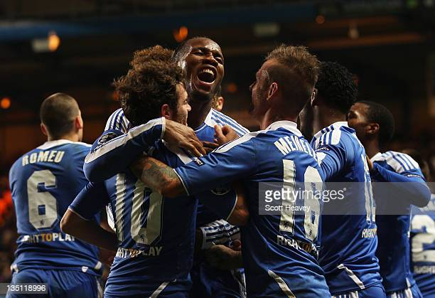 Didier Drogba of Chelsea celebrates as he scores their third goal during the UEFA Champions League Group E match between Chelsea FC and Valencia CF...