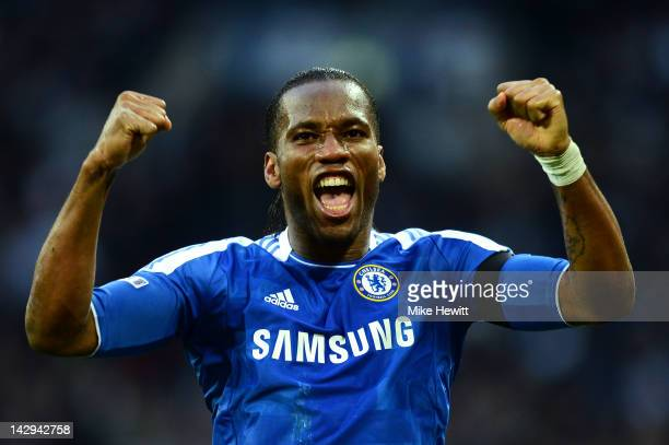 Didier Drogba of Chelsea celebrates as Ramires scores their third goal during the FA Cup with Budweiser Semi Final match between Tottenham Hotspur...