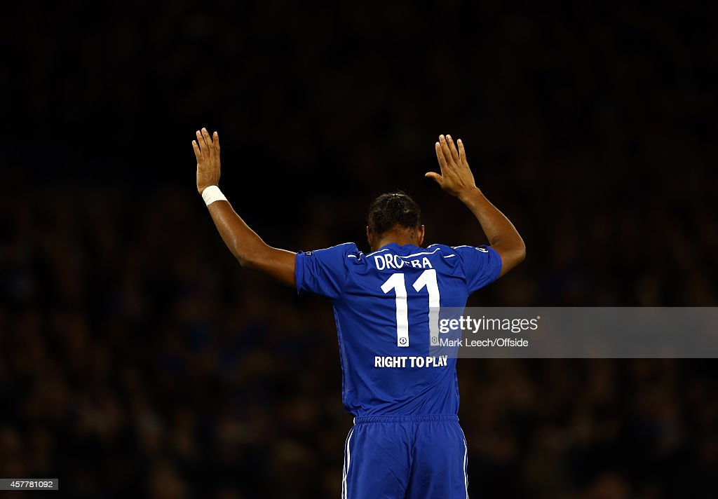 Didier Drogba of Chelsea celebrates during the UEFA Champions League between Chelsea FC and NK Maribor at Stamford Bridge on October 21, 2014 in London, United Kingdom.