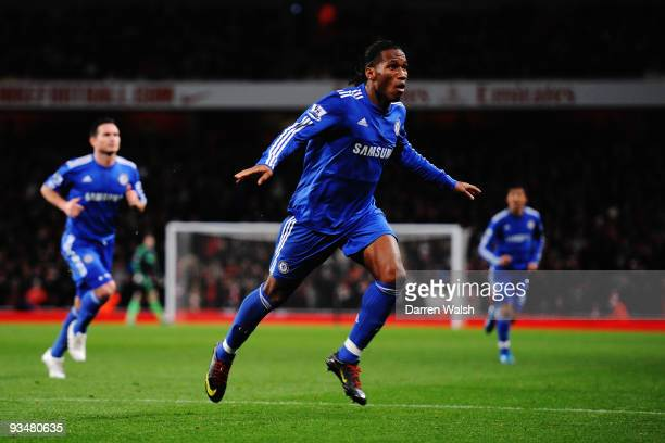 Didier Drogba of Chelsea celebrates scoring his second goal during the Barclays Premier League match between Arsenal and Chelsea at the Emirates...