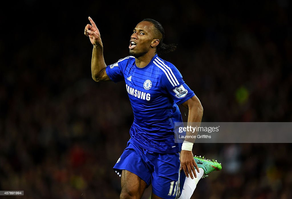 <a gi-track='captionPersonalityLinkClicked' href=/galleries/search?phrase=Didier+Drogba&family=editorial&specificpeople=179398 ng-click='$event.stopPropagation()'>Didier Drogba</a> of Chelsea celebrates scoring the first goal during the Barclays Premier League match between Manchester United and Chelsea at Old Trafford on October 26, 2014 in Manchester, England.