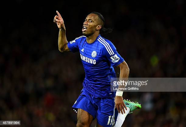 Didier Drogba of Chelsea celebrates scoring the first goal during the Barclays Premier League match between Manchester United and Chelsea at Old...