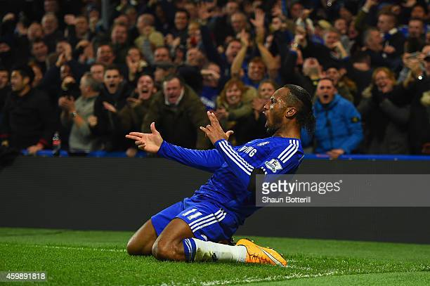 Didier Drogba of Chelsea celebrates scoring their second goal during the Barclays Premier League match between Chelsea and Tottenham Hotspur at...