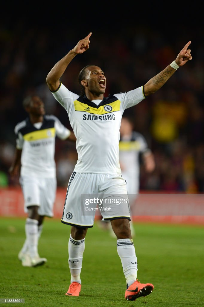Didier Drogba of Chelsea celebrates victory at the final whistle during the UEFA Champions League Semi Final, second leg match between FC Barcelona and Chelsea FC at Camp Nou on April 24, 2012 in Barcelona, Spain.