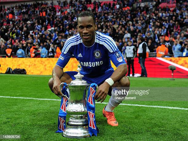 Didier Drogba of Chelsea celebrates with the cup after the FA Cup with Budweiser Final match between Liverpool and Chelsea at Wembley Stadium on May...