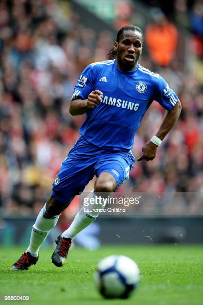 Didier Drogba of Chelsea chases down the ball during the Barclays Premier League match between Liverpool and Chelsea at Anfield on May 2 2010 in...