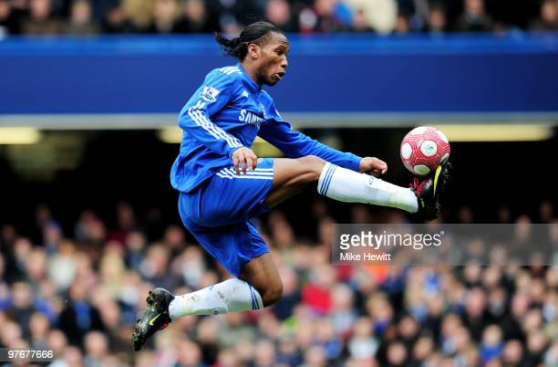 Didier Drogba of Chelsea controls the ball during the Barclays Premier League match between Chelsea and West Ham United at Stamford Bridge on March...