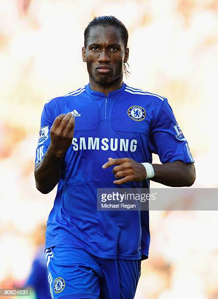 Didier Drogba of Chelsea gestures during the Barclays Premier League match between Stoke City and Chelsea at the Britannia Stadium on September 12...