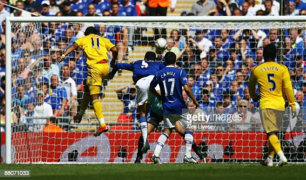 Didier Drogba of Chelsea heads the equalising goal during the FA Cup sponsored by EON Final match between Chelsea and Everton at Wembley Stadium on...