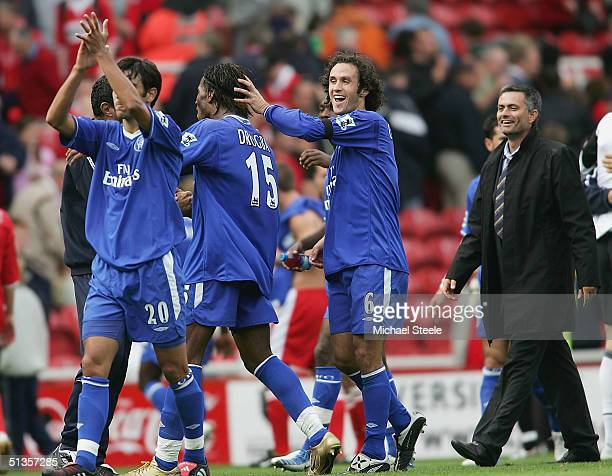 Didier Drogba of Chelsea is congratulated by Ricardo Carvalho and his manager Jose Mourinho at the final whistle during the FA Barclaycard...