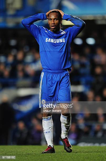 Didier Drogba of Chelsea looks dejected during the UEFA Champions League round of 16 second leg match between Chelsea and Inter Milan at Stamford...