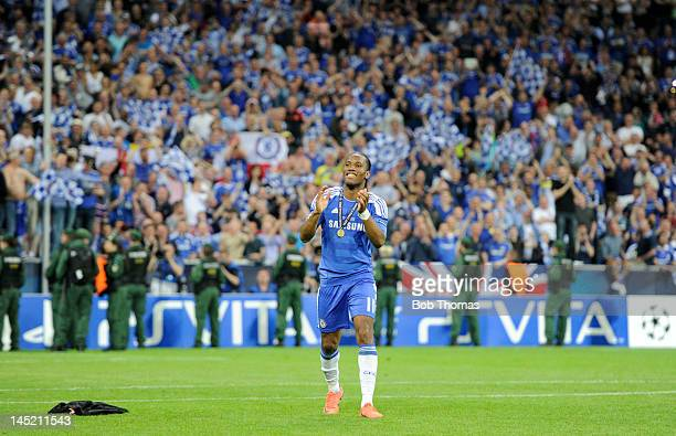 Didier Drogba of Chelsea salutes the fans after the UEFA Champions League Final between FC Bayern Munich and Chelsea at the Fussball Arena Munich on...
