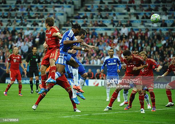 Didier Drogba of Chelsea scores his team's first goal during UEFA Champions League Final between FC Bayern Muenchen and Chelsea at the Fussball Arena...