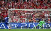 Didier Drogba of Chelsea scores the winning penalty against goalkeeper Manuel Neuer during UEFA Champions League Final between FC Bayern Muenchen and...