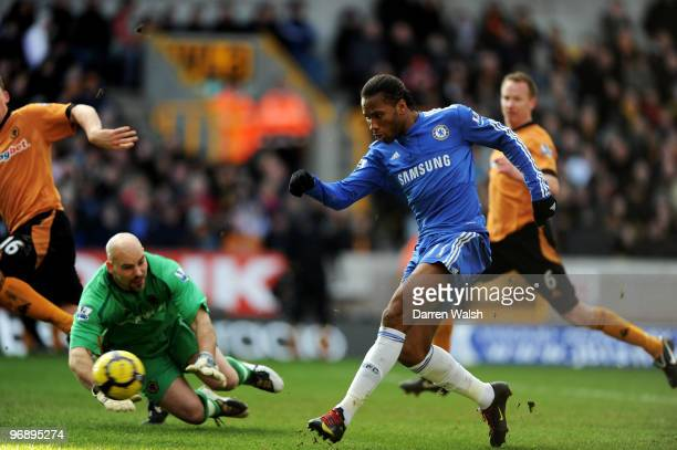 Didier Drogba of Chelsea shoots and socers the second goal of the game during the Barclays Premier League match between Wolverhampton Wanderers and...