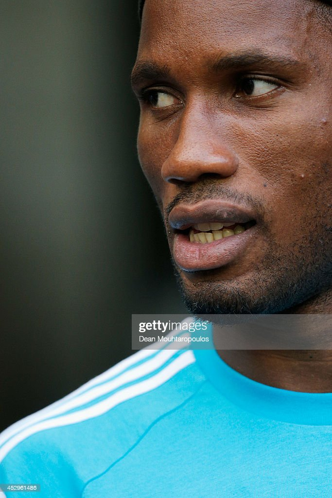 <a gi-track='captionPersonalityLinkClicked' href=/galleries/search?phrase=Didier+Drogba&family=editorial&specificpeople=179398 ng-click='$event.stopPropagation()'>Didier Drogba</a> of Chelsea walks out prior to the pre season friendly match between Vitesse Arnhem and Chelsea at the Gelredome Stadium on July 30, 2014 in Arnhem, Netherlands.