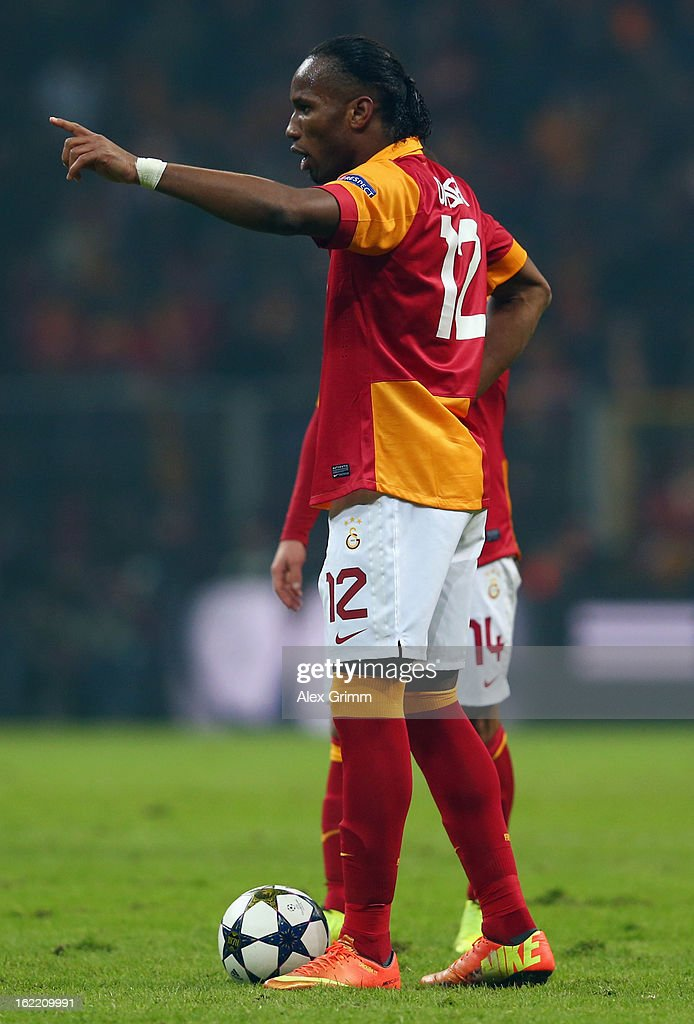 Didier Drogba of Galatasaray gestures before a free-kick during the UEFA Champions League Round of 16 first leg match between Galatasaray and FC Schalke 04 at the Turk Telekom Arena on February 20, 2013 in Istanbul, Turkey.