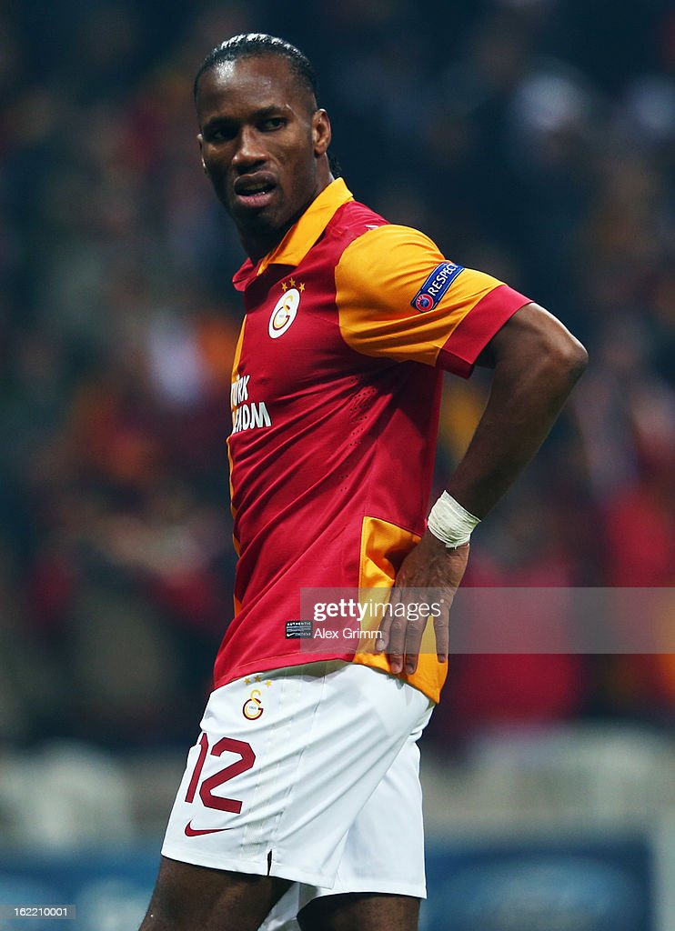 Didier Drogba of Galatasaray reacts during the UEFA Champions League Round of 16 first leg match between Galatasaray and FC Schalke 04 at the Turk Telekom Arena on February 20, 2013 in Istanbul, Turkey.
