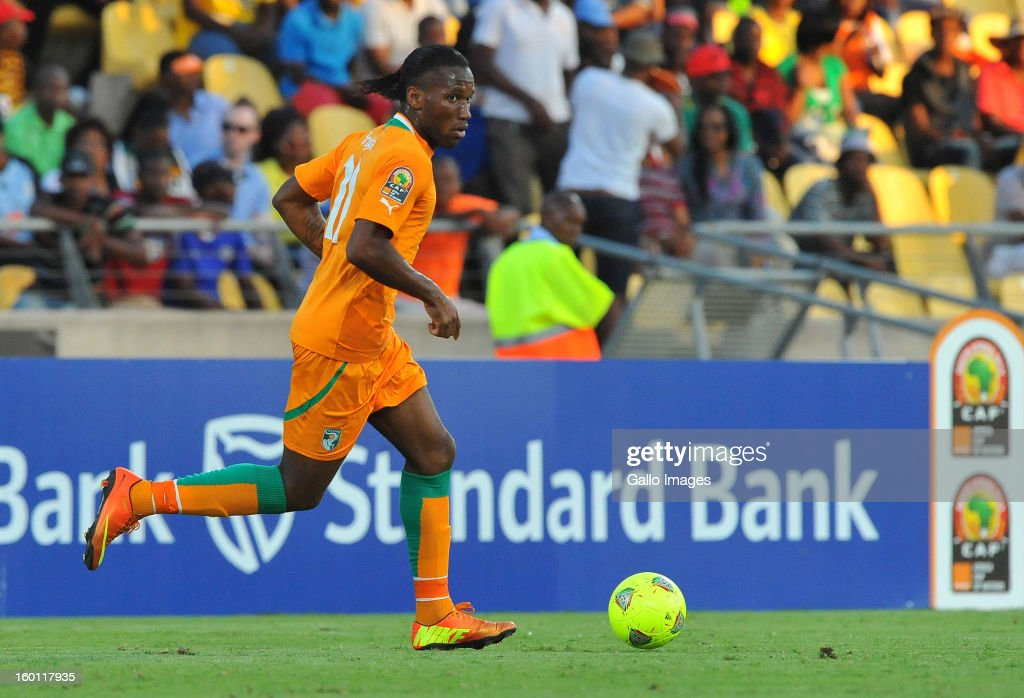 AFRICA - JANUARY 26, <a gi-track='captionPersonalityLinkClicked' href=/galleries/search?phrase=Didier+Drogba&family=editorial&specificpeople=179398 ng-click='$event.stopPropagation()'>Didier Drogba</a> of Ivory Coast attacks on the wing during the 2013 African Cup of Nations match between Ivory Coast and Tunisia at Royal Bafokeng Stadium on January 26, 2013 in Rustenburg, South Africa.