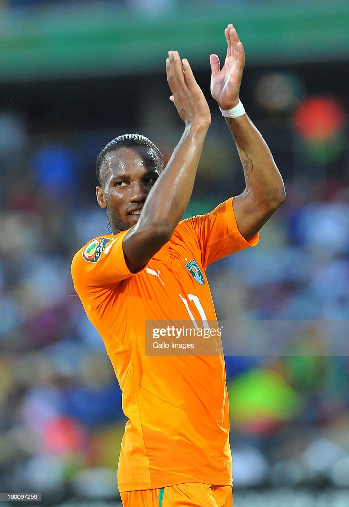 AFRICA - JANUARY 26, Didier Drogba of Ivory Coast celebrates at the final whistle during the 2013 African Cup of Nations match between Ivory Coast and Tunisia at Royal Bafokeng Stadium on January 26, 2013 in Rustenburg, South Africa.
