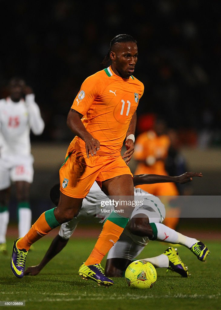 <a gi-track='captionPersonalityLinkClicked' href=/galleries/search?phrase=Didier+Drogba&family=editorial&specificpeople=179398 ng-click='$event.stopPropagation()'>Didier Drogba</a> of Ivory Coast in action during the FIFA 2014 World Cup Qualifier Play-off Second Leg between Senegal and Ivory Coast at Stade Mohammed V on November 16, 2013 in Casablanca, Morocco.