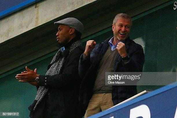 Didier Drogba of Montreal Impact and Chelsea owner Roman Abramovich celebrate Chelsea's second goal on the stand prior to the Barclays Premier League...