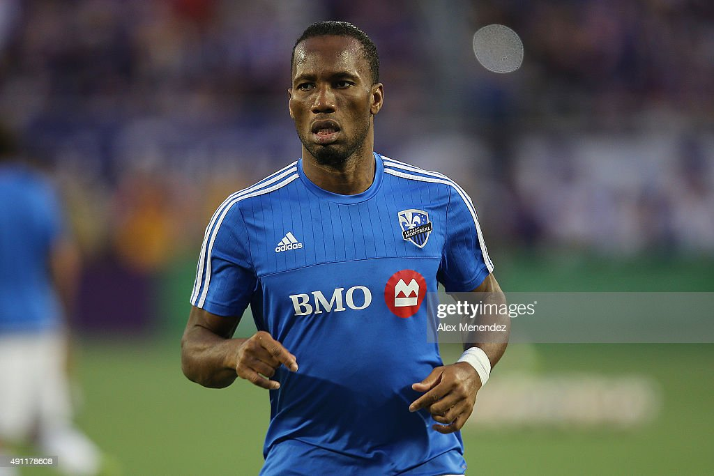 Didier Drogba #11 of Montreal Impact is seen as he warms up prior to a MLS soccer match between the Montreal Impact and the Orlando City SC at the Orlando Citrus Bowl on October 3, 2015 in Orlando, Florida.