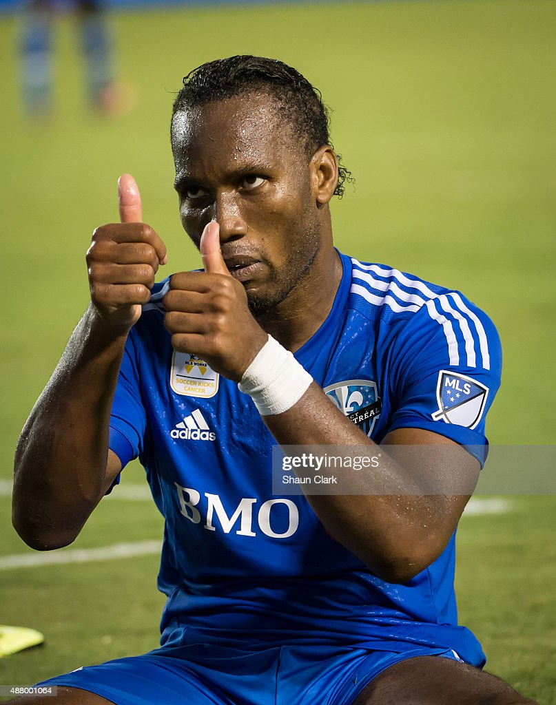 Didier Drogba #11 of Montreal Impact makes faces to the crowd after missing a shot on goal during Los Angeles Galaxy's MLS match against Montreal Impact at the StubHub Center on September 12, 2015 in Carson, California. The match ended in 0-0 tie