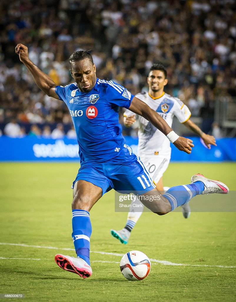 Didier Drogba #11 of Montreal Impact shoots the ball during Los Angeles Galaxy's MLS match against Montreal Impact at the StubHub Center on September 12, 2015 in Carson, California. The match ended in 0-0 tie