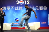Didier Drogba of Shanghai Shenhua attends a meeting with fans on September 20 2012 in Shanghai China