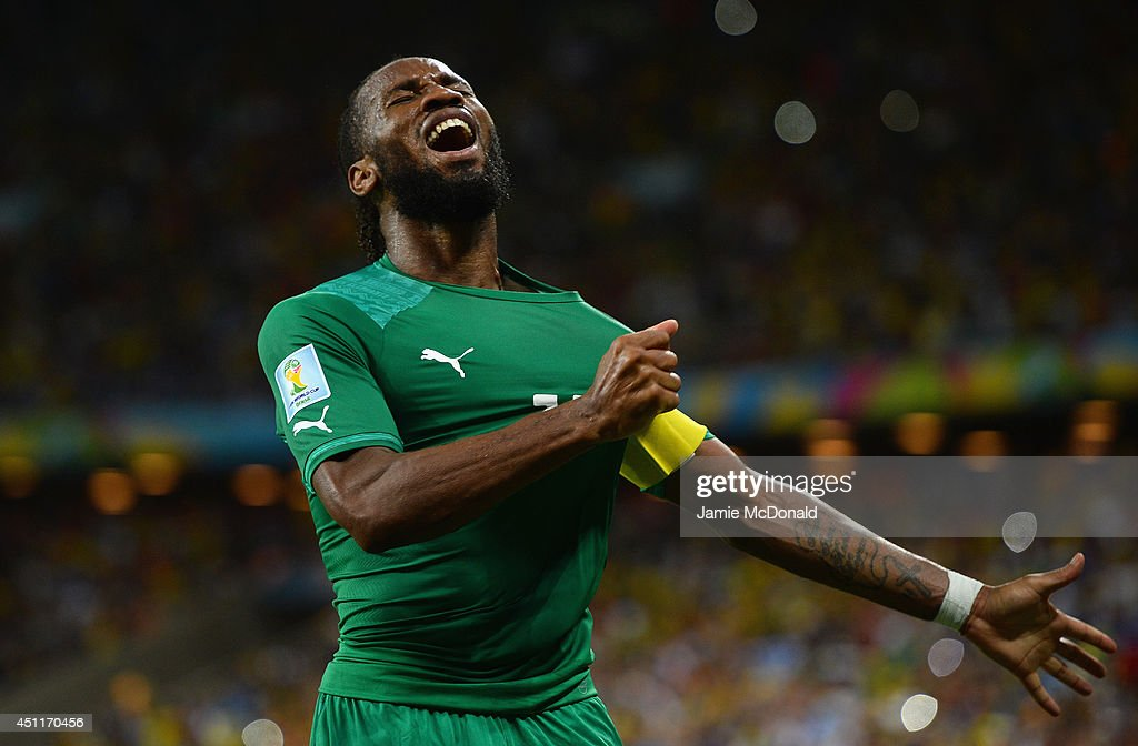 <a gi-track='captionPersonalityLinkClicked' href=/galleries/search?phrase=Didier+Drogba&family=editorial&specificpeople=179398 ng-click='$event.stopPropagation()'>Didier Drogba</a> of the Ivory Coast celebrates his team's first goal during the 2014 FIFA World Cup Brazil Group C match between Greece and the Ivory Coast at Castelao on June 24, 2014 in Fortaleza, Brazil.