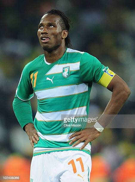 Didier Drogba of the Ivory Coast reacts during the 2010 FIFA World Cup South Africa Group G match between North Korea and Ivory Coast at the Mbombela...