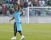 Didier Drogda of Chelsea waves to the fans after the Pre Season Friendly match between FC Olimpija Ljubljana and Chelsea at Stozice stadium in...