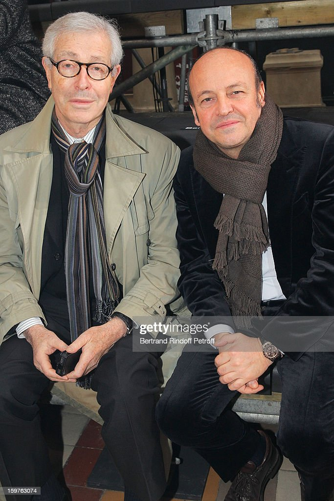 Didier Grumbach (L) and Thierry Andretta, CEO of Lanvin, attend the Lanvin Men Autumn / Winter 2013 show at Ecole Nationale Superieure Des Beaux-Arts as part of Paris Fashion Week on January 20, 2013 in Paris, France.