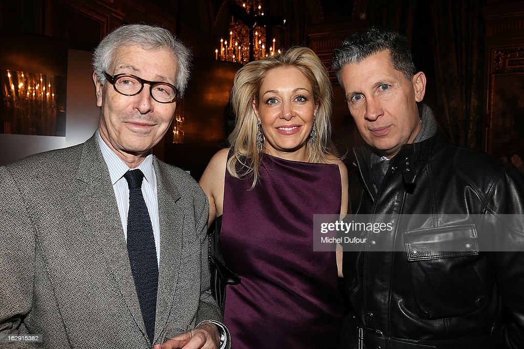 <Didier Grumbach, Nadja Swarovski, Stefano Tonchi> attend Swarovski 'Paris Haute Couture' Exhibition as part of Paris Fashion Week on February 28, 2013 in Paris, France.
