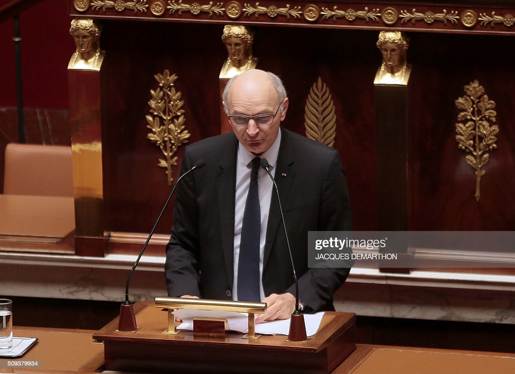 Didier Migaud, Chief Baron of the French Court of Auditors (Cour des Comptes) presents the 2016 annual report of the Court of Auditors (Cour des Comptes) during a session at the National Assembly in Paris on February 10, 2016. / AFP / JACQUES DEMARTHON