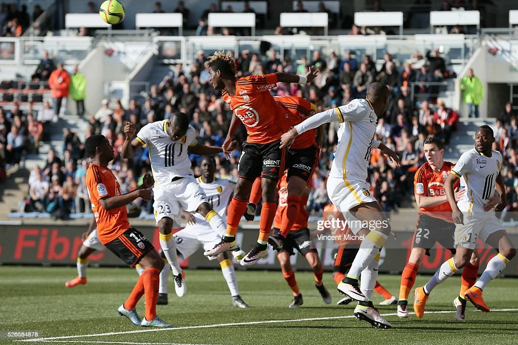 Didier NDong of Lorient during the French Ligue 1 match between Fc Lorient and Lille OSC at Stade du Moustoir on April 30, 2016 in Lorient, France.