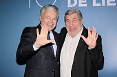 Didier Reynders and french actor JeanPierre Castaldi attend closing ceremony of 10th Liege Thriller Film Festival on April 17 2016 in Liege Belgium