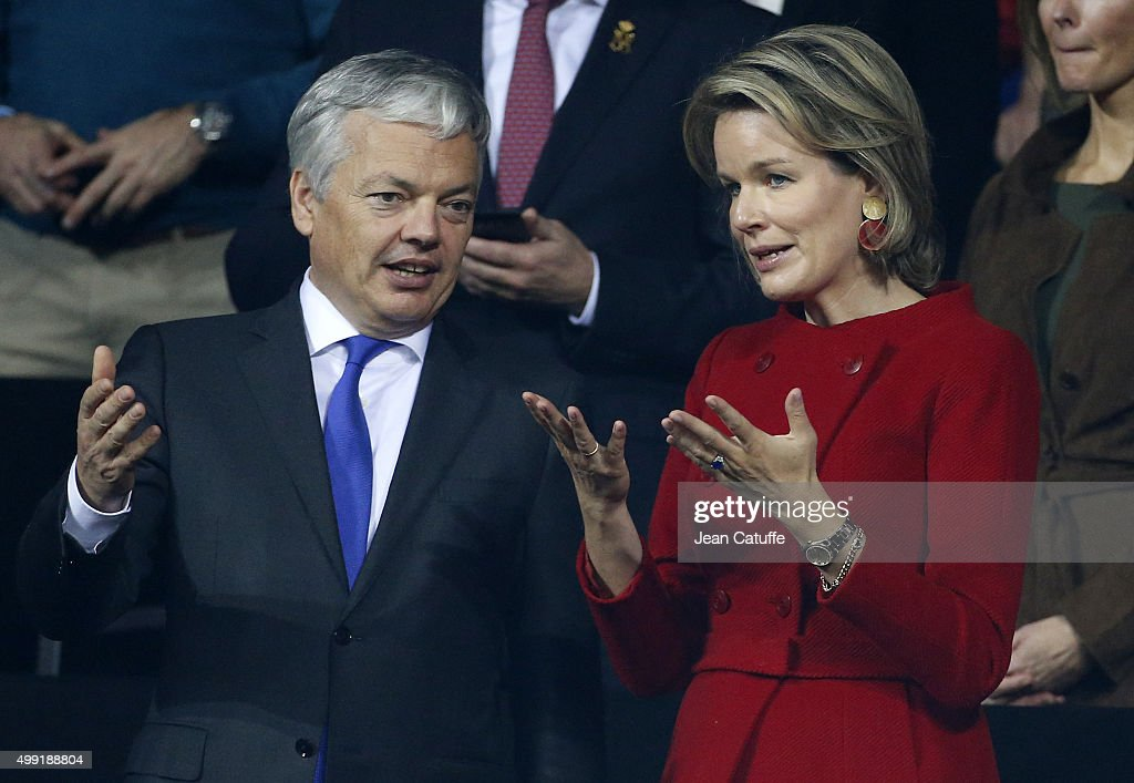Didier Reynders, Belgian Deputy Prime Minister and Minister of Foreign Affairs and Queen Mathilde of Belgium attend the victory of Andy Murray over David Goffin of Belgium during day three of the Davis Cup Final 2015 between Belgium and Great Britain at Flanders Expo on November 29, 2015 in Ghent, Belgium.
