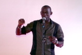 Didier Tanguy of Gabon takes part on June 4 2013 in Paris in the first round of the World Cup of poetry slam held until June 2 AFP PHOTO / JACQUES...