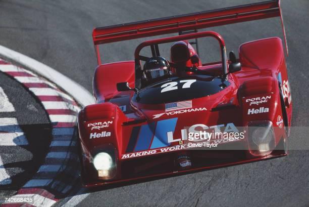 Didier Theys of Belgium drives the Doran Enterprises Inc Ferrari 333 SP V12 during the IMSA GT Championship Monterey Sports Car Championships race on...