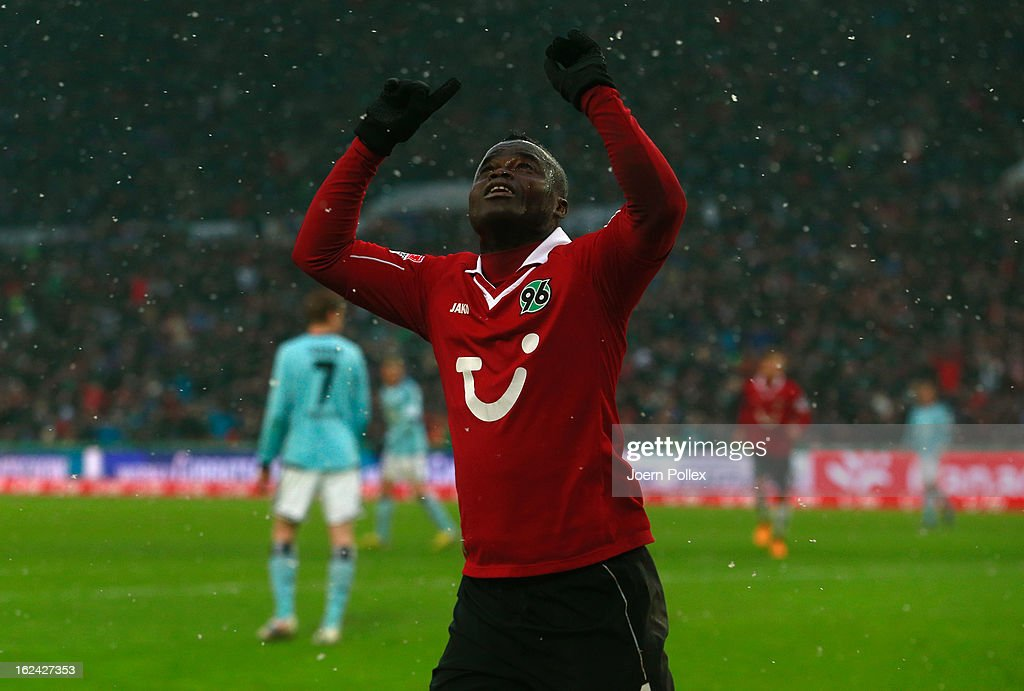 Didier Ya Konan of Hannover celebrates after scoring his team's fourth goal during the Bundesliga match between Hannover 96 and Hamburger SV at AWD Arena on February 23, 2013 in Hannover, Germany.