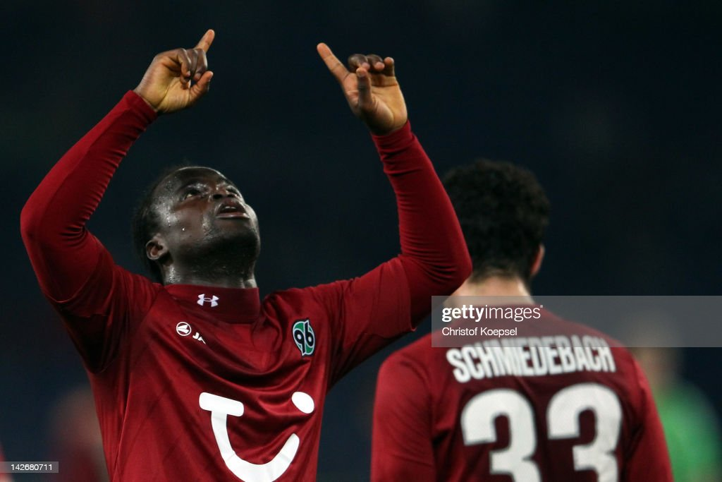 Didier Ya Konan of Hannover celebrates the second goal during the Bundesliga match between Hanover 96 and VfL Wolfsburg at AWD Arena on April 11, 2012 in Hannover, Germany.