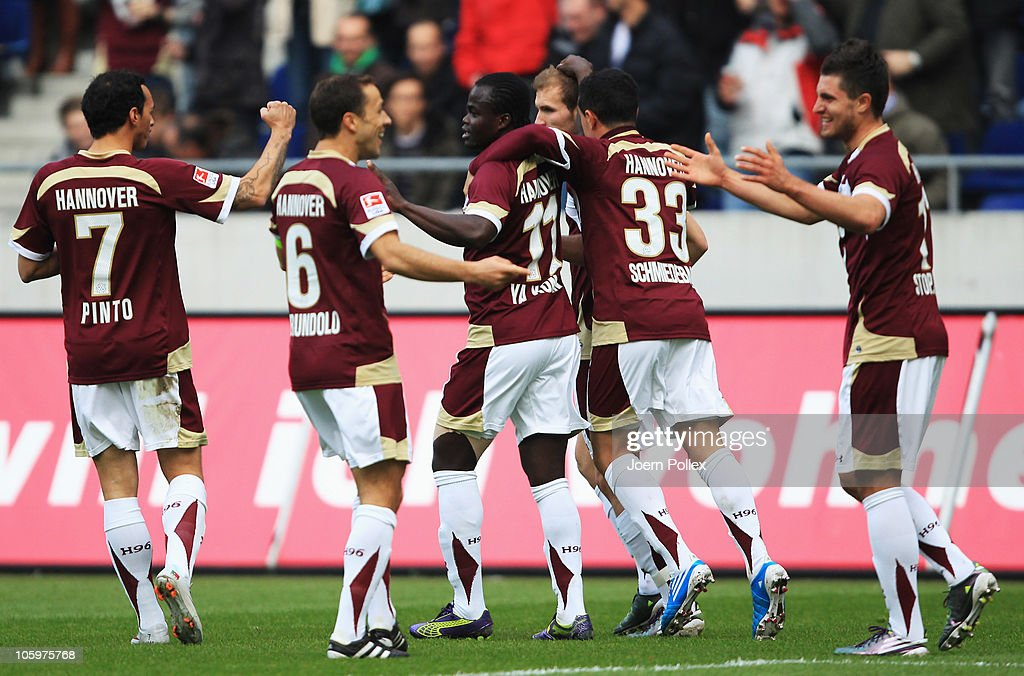 Didier Ya Konan (3rd L) of Hannover celebrates with his team mates after scoring his team's second goal during the Bundesliga match between Hannover 96 and 1. FC Koeln at AWD Arena on October 23, 2010 in Hanover, Germany.