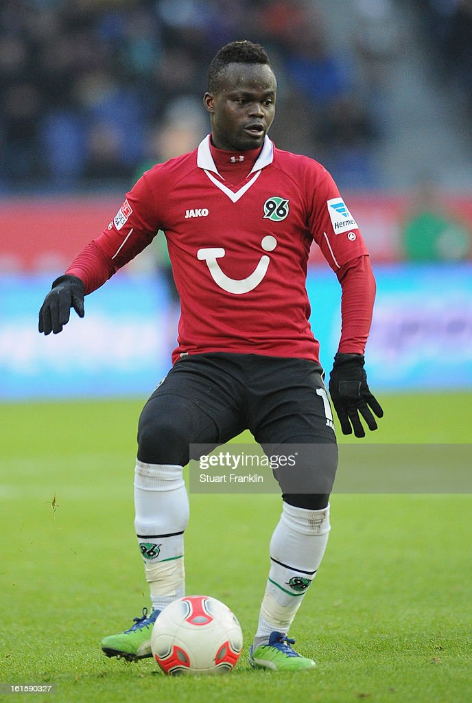 Didier Ya Konan of Hannover in action during the Bundesliga match between Hannover 96 and TSG 1899 Hoffenheim at AWD Arena on February 9, 2013 in Hannover, Germany.