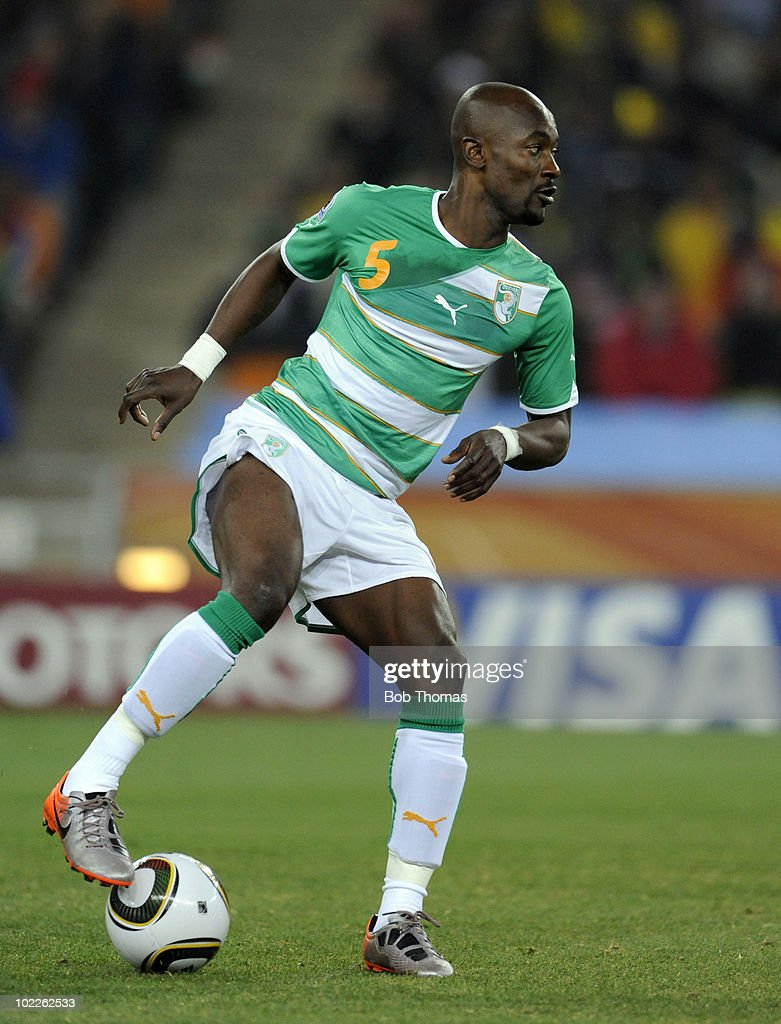 <a gi-track='captionPersonalityLinkClicked' href=/galleries/search?phrase=Didier+Zokora&family=editorial&specificpeople=550698 ng-click='$event.stopPropagation()'>Didier Zokora</a> of the Ivory Coast during the 2010 FIFA World Cup South Africa Group G match between Brazil and Ivory Coast at Soccer City Stadium on June 20, 2010 in Johannesburg, South Africa. Brazil won the match 3-1.