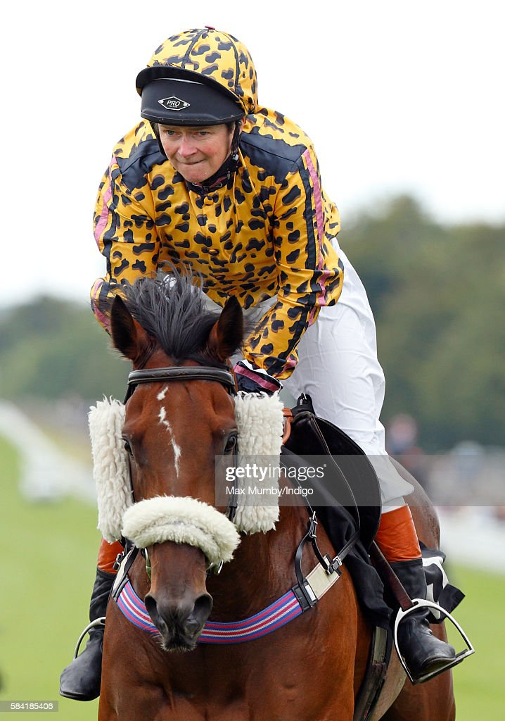Dido Harding, Chief Executive of TalkTalk, takes part in the Magnolia Cup charity race on Ladies Day of the Qatar Goodwood Festival at Goodwood Racecourse on July 28, 2016 in Chichester, England.