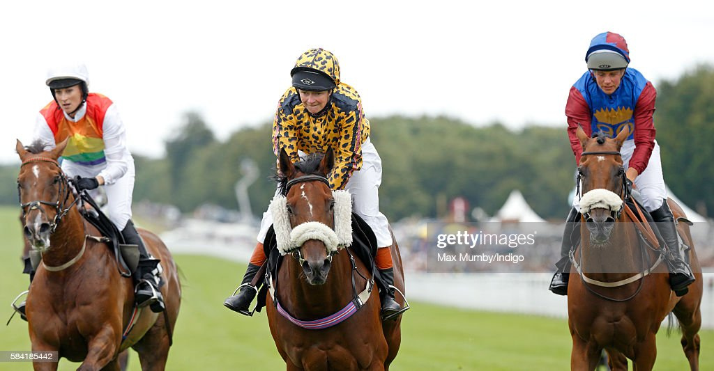 Dido Harding (c), Chief Executive of TalkTalk, takes part in the Magnolia Cup charity race on Ladies Day of the Qatar Goodwood Festival at Goodwood Racecourse on July 28, 2016 in Chichester, England.