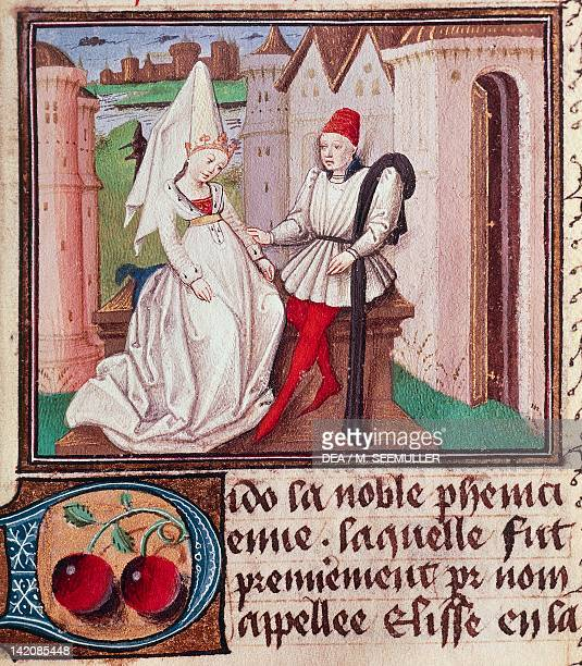 Dido Queen of Carthage miniature from The Book of Clerics and Noble Ladies a French translation of De mulieribus claris by Giovanni Boccaccio...